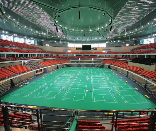 主体育馆钢结构屋盖为椭圆形索支穹顶结构,网架跨度为165m×145m,净跨