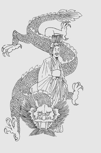 彩铅手绘弥勒佛与龙
