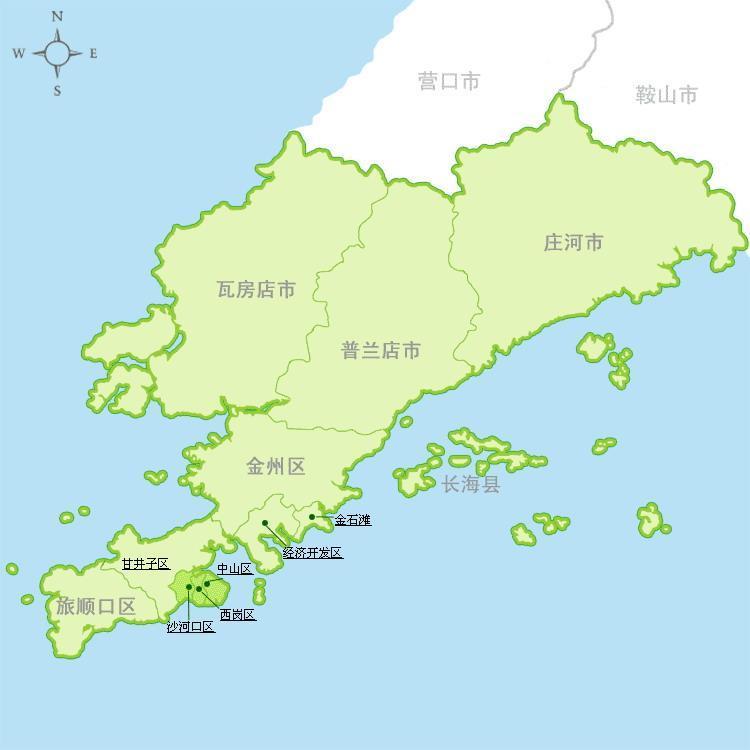 大连市政区简图; 金石滩地图;