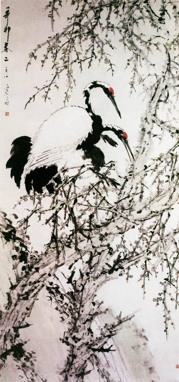 茁壮的梅树,其交错穿插的细枝和星星点点的花朵打破了画面的整体空间.