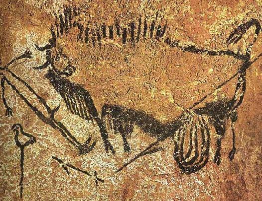 在半圆形的井穴中绘有大量的动物群像