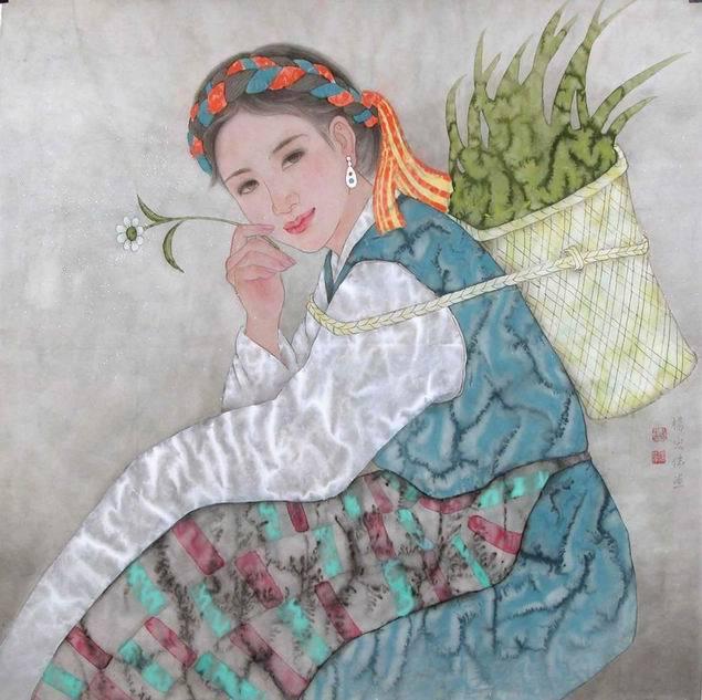 藏族小姑娘(工笔画)